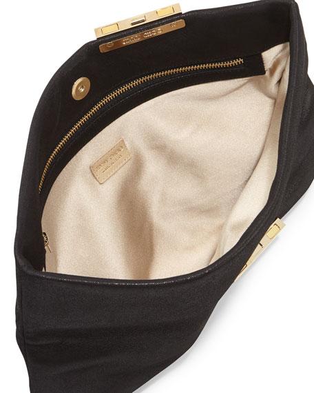 Chandra Metallic Chain Clutch Bag, Black