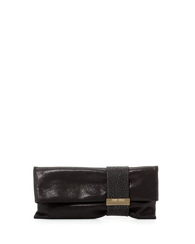 Chandra Metallic Chain Clutch Bag, Black