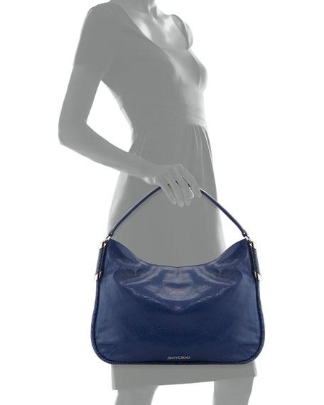 Zoe Leather Hobo Bag, Cobalt