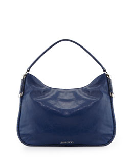 Jimmy Choo Zoe Medium Leather Hobo Bag, Cobalt