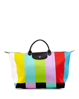 Longchamp Le Pliage Color Bar Canvas Travel Bag