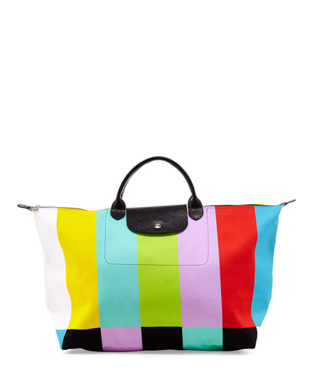 Le Pliage Color Bar Canvas Travel Bag