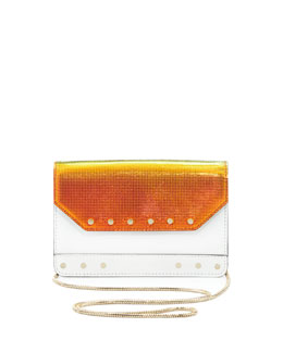 Milly Crosby Mini Iridescent Crossbody Bag, White