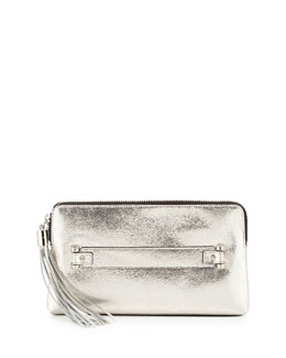 Milly Rivington Crackled Metallic Clutch Bag, Champagne