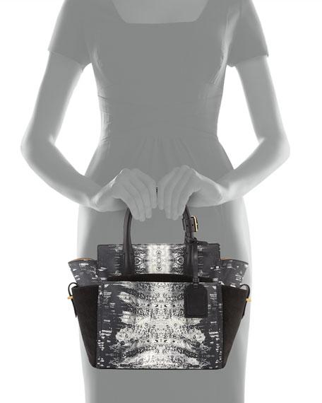 Atlantique Mini Snake-Print Tote Bag, Black/White