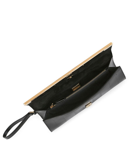Rush Patent Saffiano Clutch Bag, Black