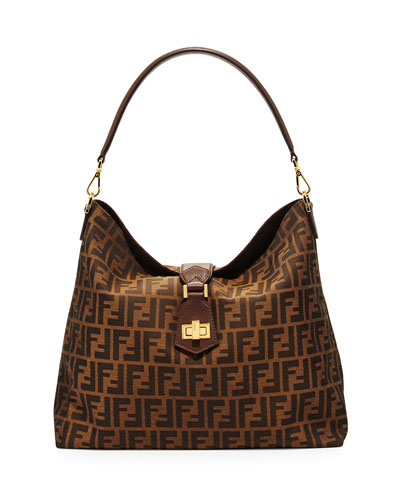 Zucca Small Hobo Bag, Brown