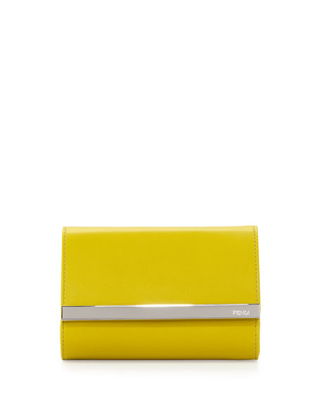 Rush Mini Leather Clutch Bag, Lime