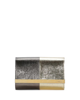 Fendi Rush Mini Metallic Clutch Bag, Gold Bronze