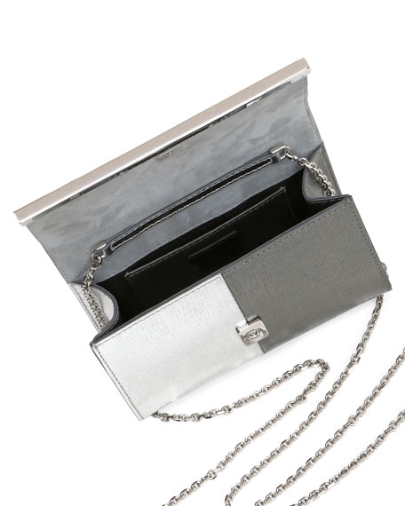 Rush Mini Metallic Clutch Bag, Silver