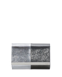 Fendi Rush Mini Metallic Clutch Bag, Silver