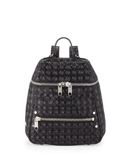 Milly Bowery Snake-Print Hologram Backpack, Black