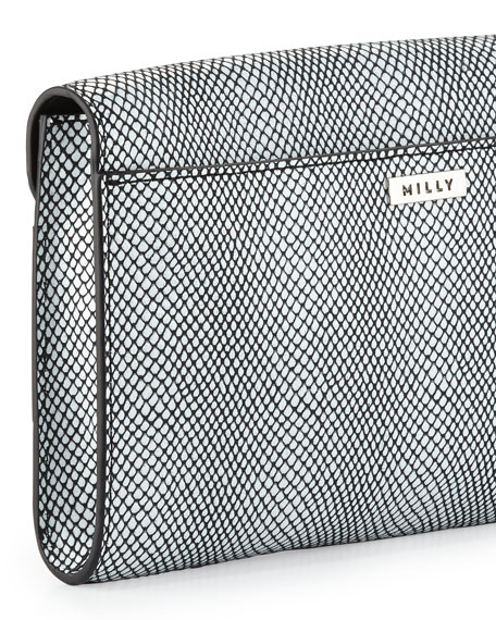 Irving Snake-Print Clutch Bag, Black/White