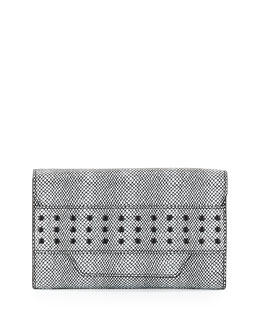 Milly Irving Snake-Print Clutch Bag, Black/White