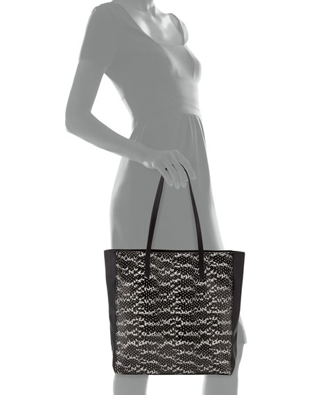 Nolita Snake-Embossed Tote Bag, Black/White