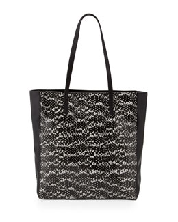 Milly Nolita Snake-Embossed Tote Bag, Black/White