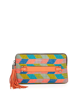 Milly Neon Tweed Tassel Clutch Bag, Multi