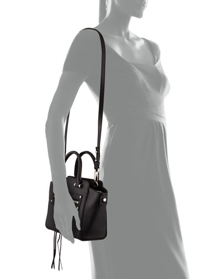 Riley Goatskin Crossbody Tote Bag, Black