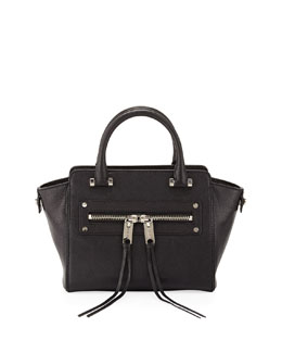 Milly Riley Goatskin Crossbody Tote Bag, Black