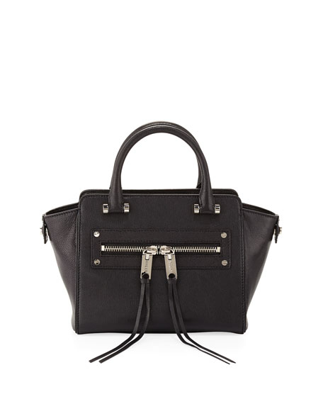 Riley Goatskin Crossbody Tote Bag, Black
