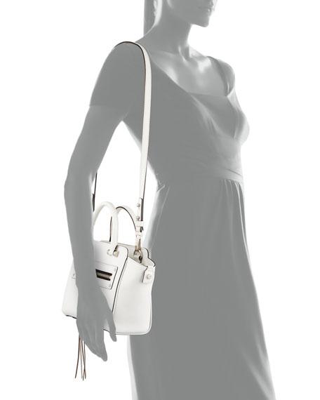 Riley Goatskin Crossbody Tote Bag, White