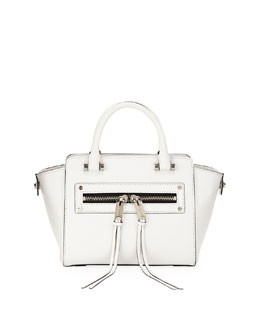 Milly Riley Goatskin Crossbody Tote Bag, White