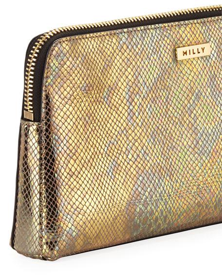 El Dorado Snake-Print Tassel Clutch Bag, Gold