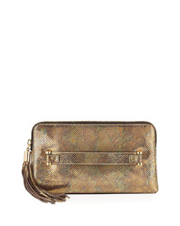 Milly El Dorado Snake-Print Tassel Clutch Bag, Gold