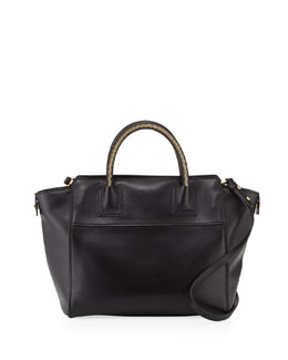 Milly Logan Leather Large Tote, Black