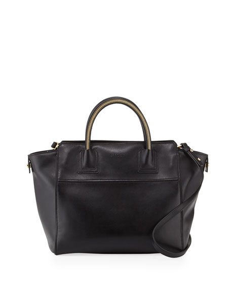 Logan Leather Large Tote, Black
