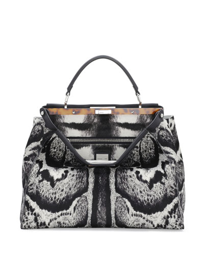 Fendi Peekaboo Large Calf Hair Satchel Bag, White/Black