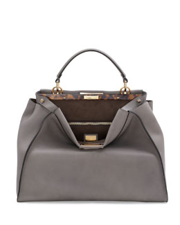 Fendi Peekaboo Large Leather Satchel Bag, Light Gray