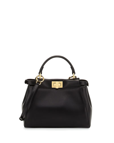 Fendi Peekaboo Mini Leather Satchel Bag, Black
