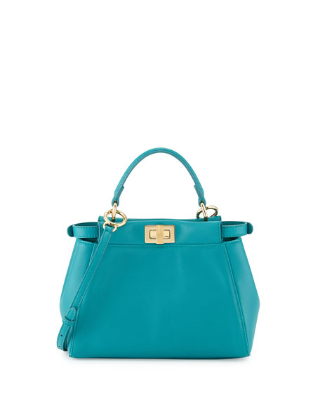 Fendi Peekaboo Mini Leather Satchel Bag, Aqua