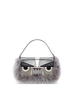 Fendi Baguette Metallic Fur Monster Bag, Gray