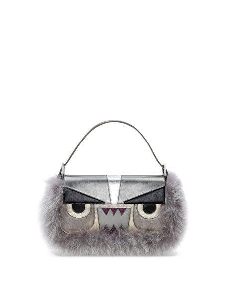 Baguette Metallic Fur Monster Bag, Gray