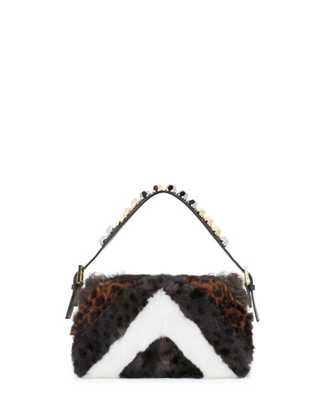 Baguette Stud Embellished Fur Bag, Black