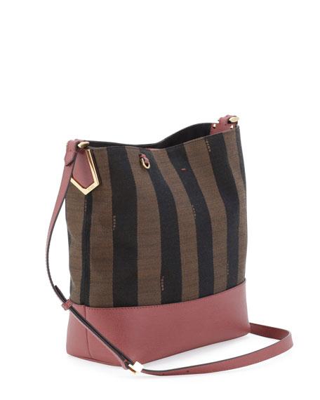 Pequin Striped Bucket Bag, Brown/Pink