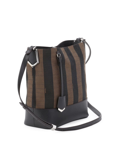 Pequin Striped Bucket Bag, Brown