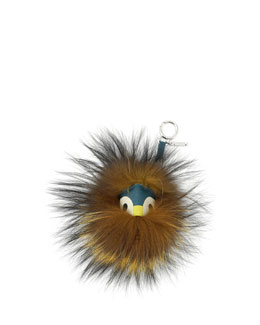 Fendi Mini Fur Monster Charm for Handbag, Teal Multi
