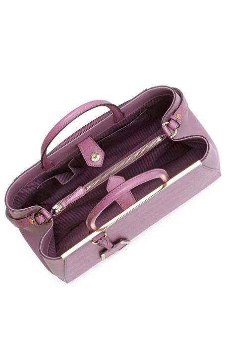 2Jours Leather Satchel Bag, Lilac