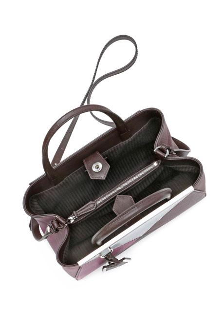 2Jours Petit Mixed-Leather Tote Bag, Bordeaux