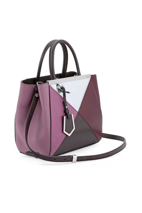 2Jours Petit Mixed-Leather Tote Bag, Bordeaux