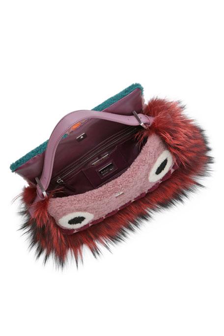 Baguette Shearling Fur Monster Bag, Purple Multi
