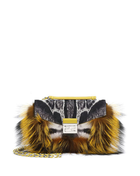 Be Baguette Fur & Leopard-Print Calf Hair Bag