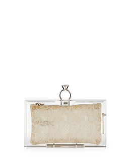 Charlotte Olympia Pandora Marry Me Box Clutch, Clear