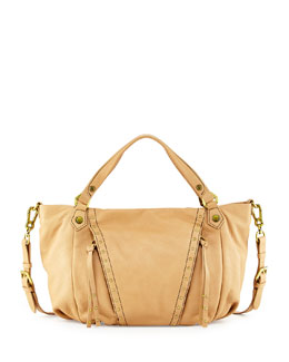 Oryany Candice Studded Leather Satchel, Mushroom