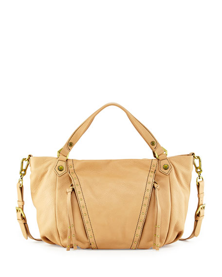 Candice Studded Leather Satchel, Mushroom