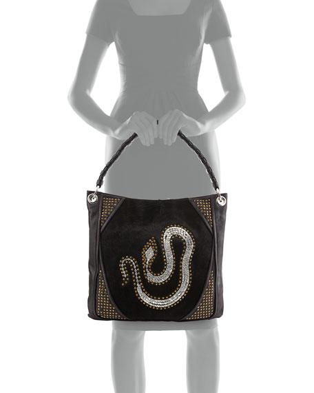 Gale Snake Studded Hobo Bag, Black