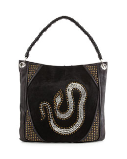 Oryany Gale Snake Studded Hobo Bag, Black